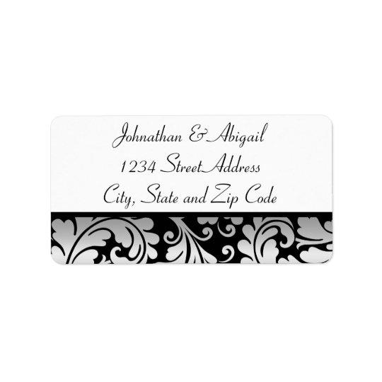 Silver Black Damask Pattern Address Label
