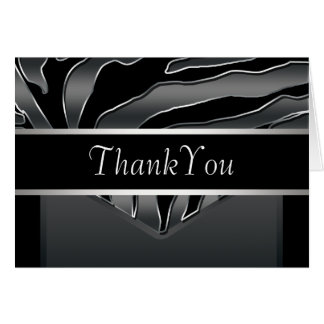 Silver Black Elegant Zebra Thank You Card