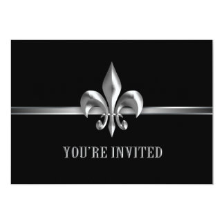 Silver Black Fleur de Lis Event 13 Cm X 18 Cm Invitation Card