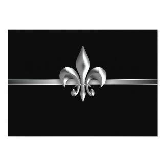 Silver Black Fleur de Lis Event I 13 Cm X 18 Cm Invitation Card
