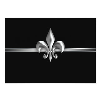 "Silver Black Fleur de Lis Event I 5"" X 7"" Invitation Card"