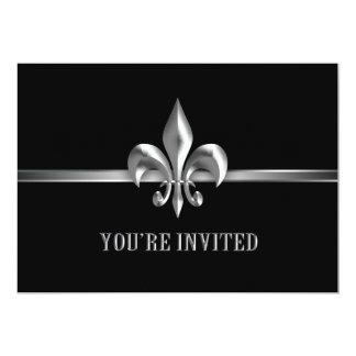 "Silver Black Fleur de Lis Event 5"" X 7"" Invitation Card"