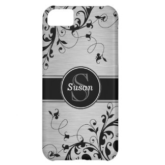 Silver Black Floral Swirls iPhone 5 Case-Mate