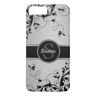 Silver Black Floral Swirls iPhone 8 Plus/7 Plus Case