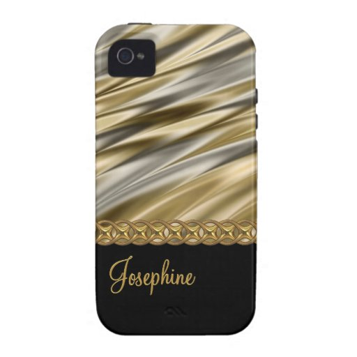 Silver, black, gold chain, monogram iPhone 4/4S cover
