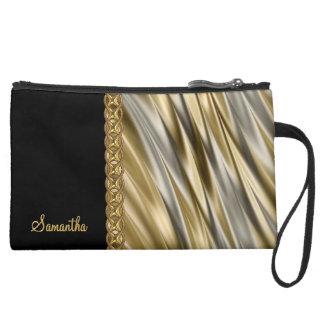Silver, black, gold chain, monogram wristlet purse