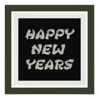 Silver black Happy New Years 13 Cm X 13 Cm Square Invitation Card