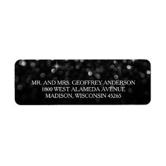 Silver Black Hollywood Glitz Glam Wedding Label Return Address Label