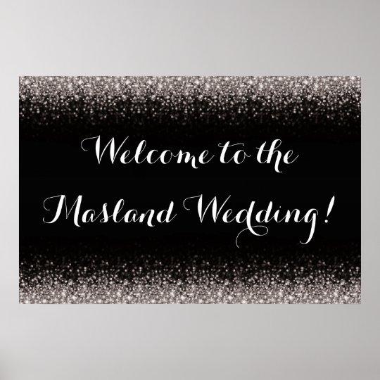 Silver Black Hollywood Glitz Glam Wedding Poster