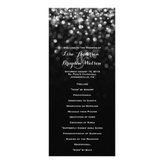 Silver Black Hollywood Glitz Glam Wedding Program Rack Card