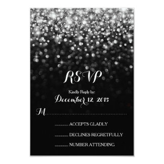 Silver Black Hollywood Glitz Glam Wedding RSVP Card