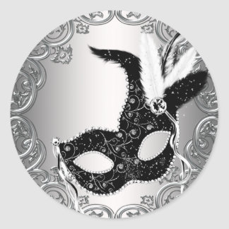 Silver Black Mask Masquerade Envelope Seal Favor