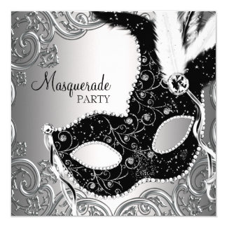 Silver Black Mask Masquerade Party 13 Cm X 13 Cm Square Invitation Card