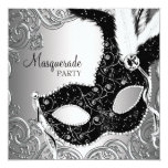 Silver Black Mask Masquerade Party Personalised Invitations