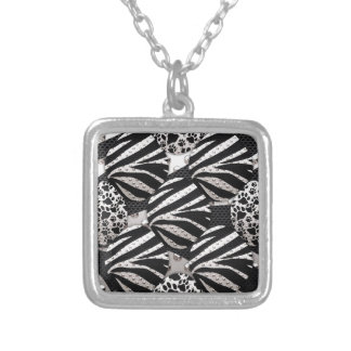 Silver/Black Metal Texture Collage Jewelry