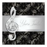 Silver Black Music Treble Clef Recital Invitations