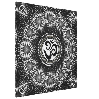 Silver Black Om Sign Love Mandala NewAge Canvas Stretched Canvas Print