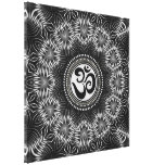 Silver Black Om Sign Love Mandala NewAge Canvas Gallery Wrapped Canvas