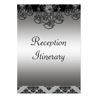 Silver & Black Ornate Chandelier Wedding Business Cards