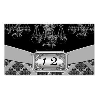 Silver & Black Ornate Chandelier Wedding Business Card Templates