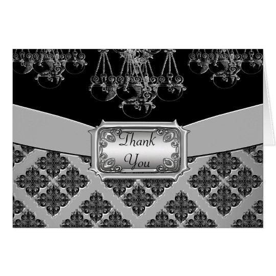 Silver & Black Ornate Chandelier Wedding Card