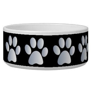 Silver black pawprints beautiful pet dog bowl