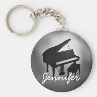 Silver Black Piano Name Monogram Student Gift Basic Round Button Key Ring