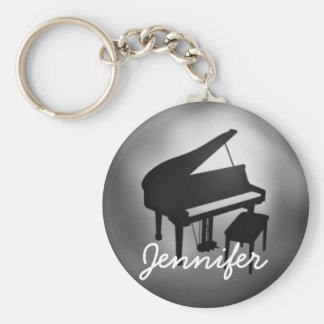 Silver Black Piano Name Monogram Student Gift Key Ring