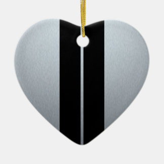 Silver & Black Racing Car Stripes Ceramic Heart Decoration