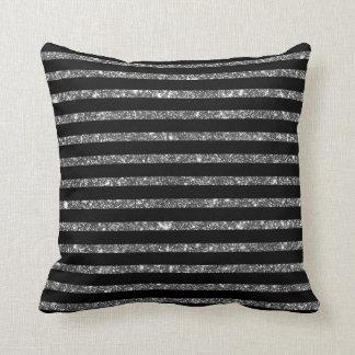 Silver Black Shining Faux Glitter Stripes Pattern Cushion