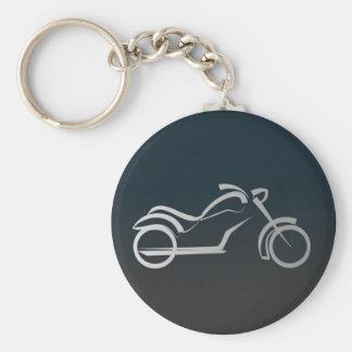 Silver Black Sleek Motorcyle Motorbike Outline Basic Round Button Key Ring
