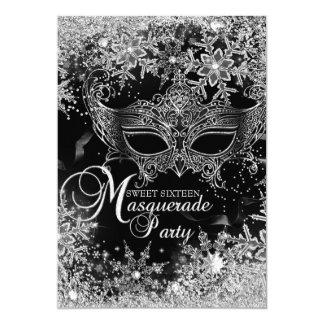 Silver Black Snowflake Mask Masquerade Sweet 16 Card
