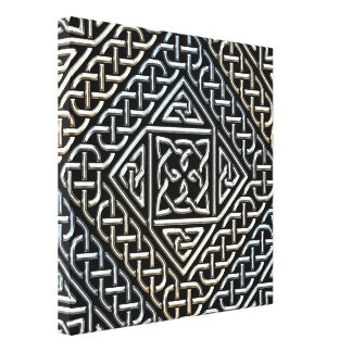 Silver Black Square Shapes Celtic Knotwork Pattern Gallery Wrap Canvas