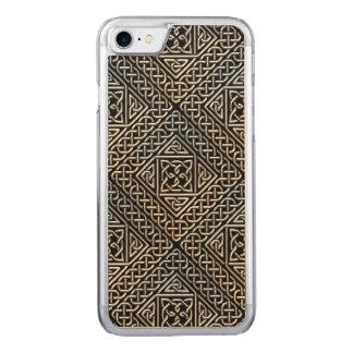 Silver Black Square Shapes Celtic Knotwork Pattern Carved iPhone 8/7 Case