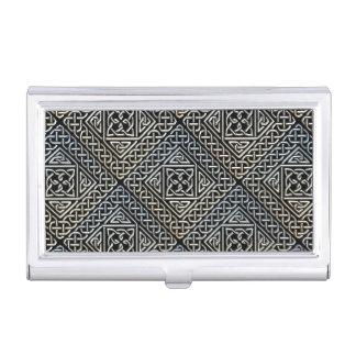 Silver Black Square Shapes Celtic Knotwork Pattern Case For Business Cards
