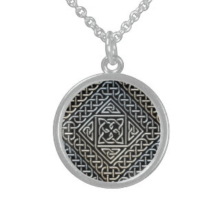 Silver Black Square Shapes Celtic Knotwork Pattern Sterling Silver Necklaces