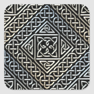 Silver Black Square Shapes Celtic Knotwork Pattern Square Sticker