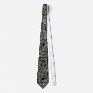 Silver Black Square Shapes Celtic Knotwork Pattern Tie