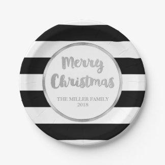 Silver Black Stripes Merry Christmas Custom Plates