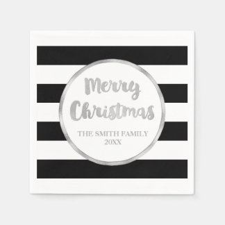 Silver Black Stripes Merry Christmas Napkin Disposable Serviettes