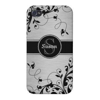 SILVER BLACK SWIRLS YOUR MONOGRAM iPhone 4 CASE