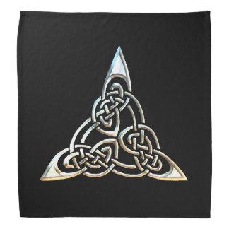 Silver Black Triangle Spirals Celtic Knot Design Bandana