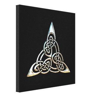 Silver Black Triangle Spirals Celtic Knot Design Stretched Canvas Prints