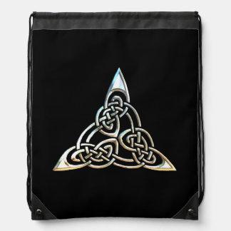 Silver Black Triangle Spirals Celtic Knot Design Drawstring Bag
