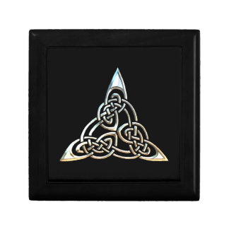 Silver Black Triangle Spirals Celtic Knot Design Gift Box