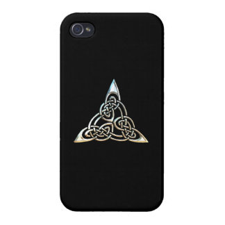 Silver Black Triangle Spirals Celtic Knot Design iPhone 4/4S Cases