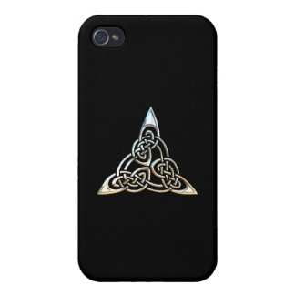 Silver Black Triangle Spirals Celtic Knot Design iPhone 4 Covers