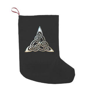 Silver Black Triangle Spirals Celtic Knot Design Small Christmas Stocking