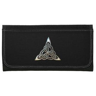Silver Black Triangle Spirals Celtic Knot Design Wallet