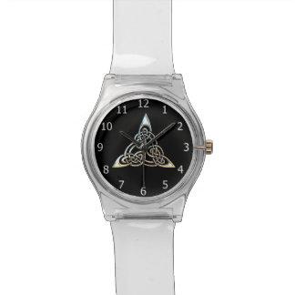Silver Black Triangle Spirals Celtic Knot Design Wrist Watches